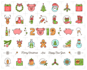 Christmas icons set, Pig icons chinese zodiac 2019. Thin line art New year icons, 2019 text design. Colorful Christmas symbols, Vector outline illustration