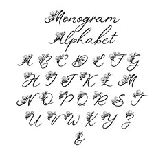 Vector Calligraphy Alphabet. Exclusive Floral Letters. Decorative handwritten brush font for: Wedding Monogram, Logo, Invitation. Wedding floral font isolated on white background