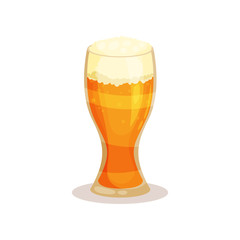 Big glass of beer with foam. Alcoholic drink. Flat vector element for promo poster or banner of brewery company