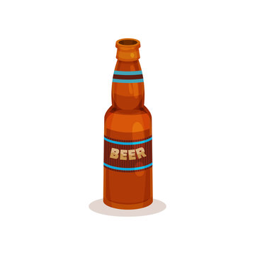 Brown bottle of beer with label. Refreshing alcoholic beverage. Flat vector element for advertising flyer or poster