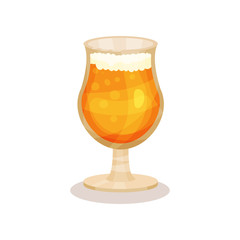 Cold wheat beer in glass with stem. Alcoholic drink. Flat vector element for party poster, pub or cafe menu