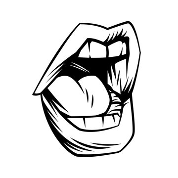 Open mouth in comic style.