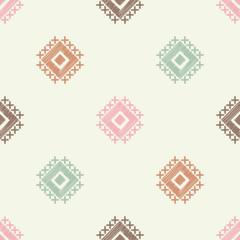 Ethnic boho seamless pattern. Embroidery. Traditional ornament. Geometric background. Tribal pattern. Folk motif. Textile rapport.