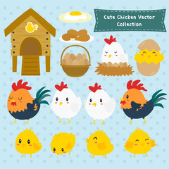 set of cute chickens and farm items cartoon vector. cute rooster, hen and chicks vector set