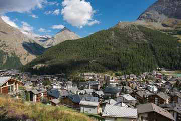 beautiful glacier village in Valais switzerland surrounded by several 4000s