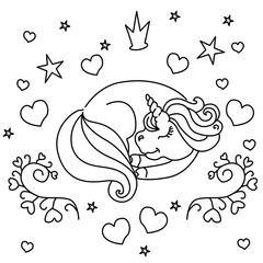 Sleeping little unicorn vector illustration