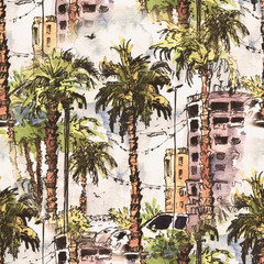 Seamless pattern. Downtown with street and buildings of Miami City in Florida, USA. Watercolor splash with hand drawn sketch illustration. retro colorful watercolor silhouettes of palm trees.