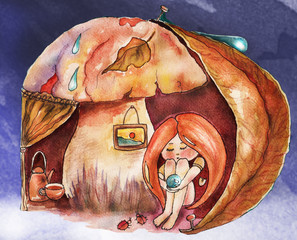 Children's book illustration. Watercolor cute girl with red hair in warm posture under the mushroom, cozy atmosphere. Greeting card. Can be printed on T-shirts, bags, posters, invitations, cards