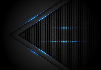 Abstract blue light arrow on black with hexagon mesh design modern luxury futuristic technology background vector illustration.