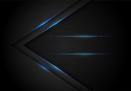Abstract blue light arrow on black with hexagon mesh design modern luxury futuristic technology background vector illustration.