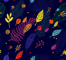 Multicolor Seamless trendy pattern, autumn background, exotic leaves. Vector botanical illustration, Great design element for fabric, wrapping paper, congratulation cards, banners, flyers and another