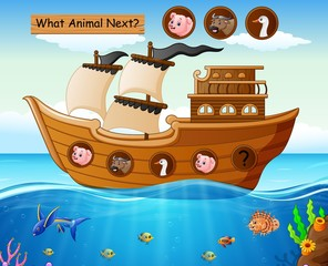 Wood boat sailing with farm animals theme