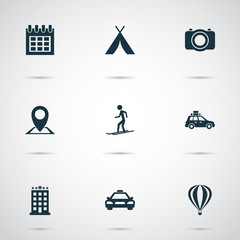 Traveling icons set with hotel, tent, suv and other camera