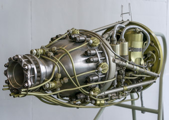 Rocket Side Silver Gold Hydraulic Lines Jumbled Together Space Vehicle