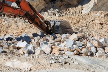 Earth Mover in a Marble Quarry - Carrara,  Apuan Alps (Alpi Apuane) Italy