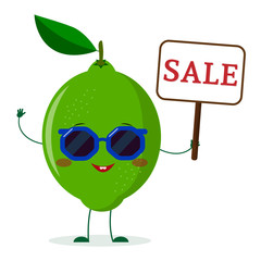 Cute lime cartoon character in sunglasses keeps a sale sign.