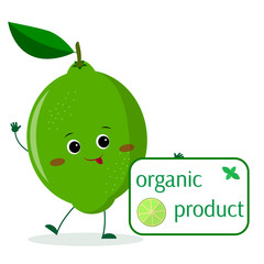 A cute lime cartoon character holds a plate of organic foods.