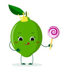 Cute lime cartoon character with crown holds a lollipop.