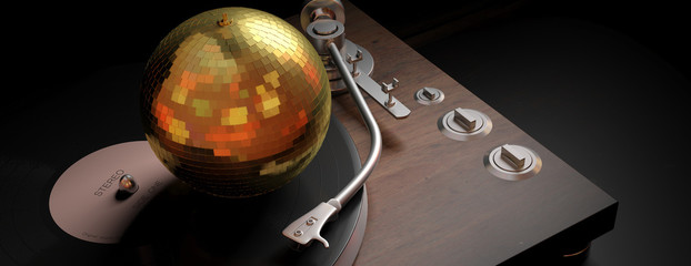 Gold mirror disco ball on turntable in a black background, banner, 3d illustration