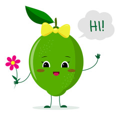 Cute lime cartoon character with a pink bow holding a flower and welcomes.