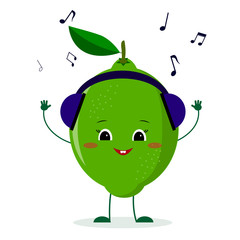 A cute lime character in cartoon style listening to music on headphones.