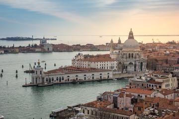 Aerial view of Venice, Grand canal, Basilica Santa Maria della Salute.
