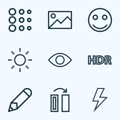 Image icons line style set with flash, high dynamic range, circle and other flip