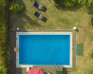 Private pool in a garden top view
