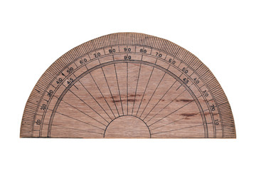 Ruler scale circle made from wood isolated on white backgroud