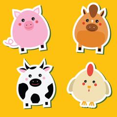 Cute kawaii farm animals stickers set. Vector illustration. Pig, horse, cow, hen