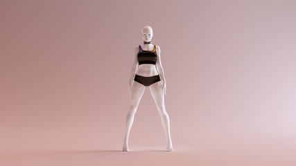 Sexy White Abstract Woman in Black Shorts and Tshirt 3d illustration