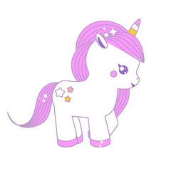 Cute unicorn. Fairy pony, magic horse. Isolated vector illustration in kawaii style for stickers and fashion prints