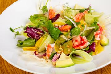Salad with natural crab