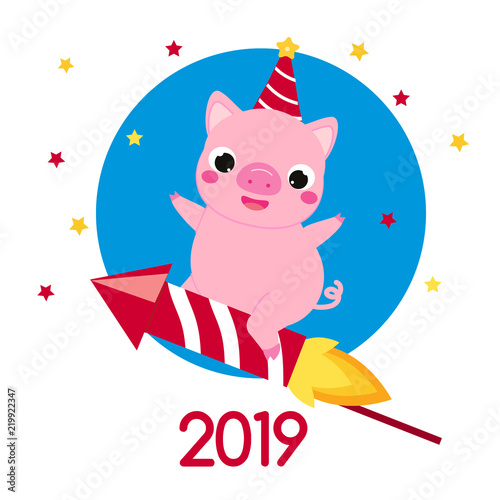 Cartoon Pig Symbol Of Chinese 2019 New Year Flying On Firework