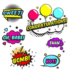 Comic speech bubbles with texts Bomb, congratulations, sweet and other. Vector pop art labels, stickers