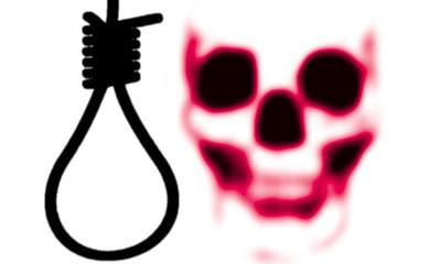 Totenkopf und Galgenstrick als Symbol für die Todesstrafe