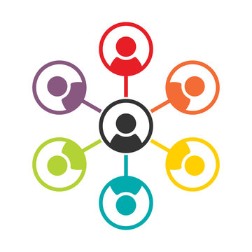 Simple, flat, colorful social (people) networking icon. Team icon. Isolated on white