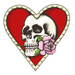 Skull with Rose in a Heart Shaped Hole