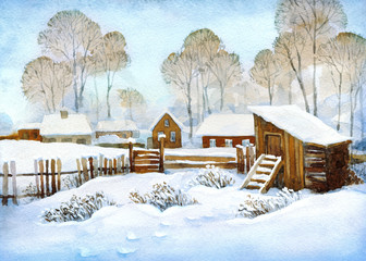 Watercolor landscape of old winter village