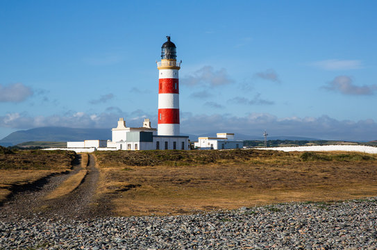The Point of Ayre lighthouse on a summers morning, Isle of Man, British Isles