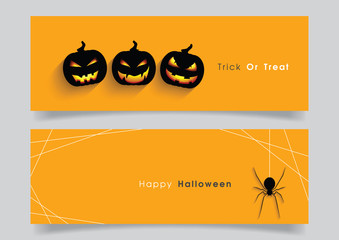 Banner set with Halloween pumpkin and spider.