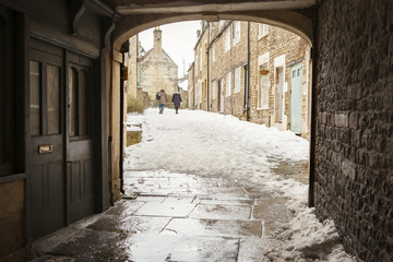 Sheppards Barton, Frome, Somerset in the snow.