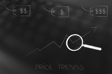 different price tags with magnifying glass analysing price trend stats and caption