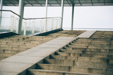 Overpass stairs in the city