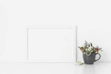 White a4 landscape portrait frame mockup with Empty frame, poster mock up for presentation design. Template frame for text, lettering, modern art.