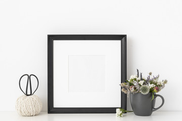 Black square portrait frame mockup. Template frame for text, lettering, modern art.