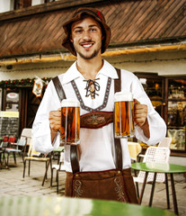 Bavarian people and bar background