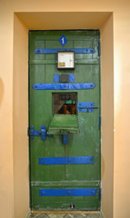UGLICH, RUSSIA. A door to the prison cell. Museum of prison art