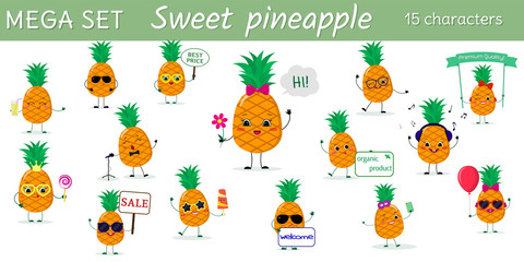 Mega set of fifteen pineapples character in different poses and accessories in cartoon style.