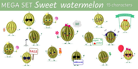 Mega set of fifteen watermelon character in different poses and accessories in cartoon style.